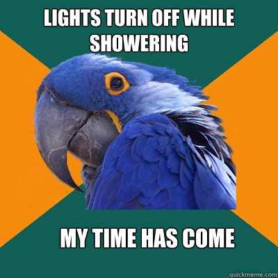 lights turn off while showering my time has come - Paranoid Parrot