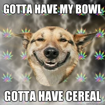 gotta have my bowl gotta have cereal - Stoner Dog