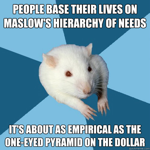 people base their lives on maslows hierarchy of needs its  - Psychology Major Rat