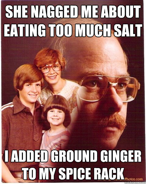 she nagged me about eating too much salt i added ground ging - Vengeance Dad