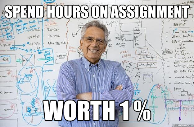 spend hours on assignment worth 1  - Engineering Professor