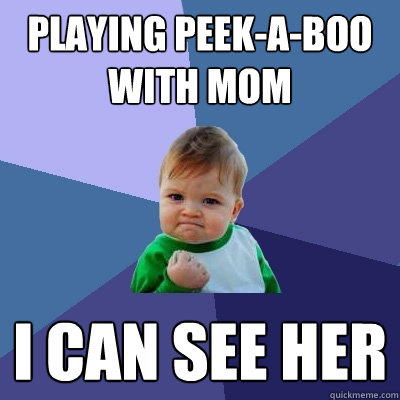 playing peekaboo with mom i can see her - Success Kid