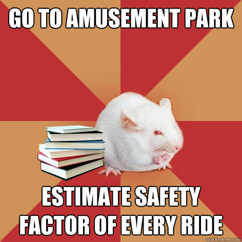 go to amusement park estimate safety factor of every ride - Science Major Mouse