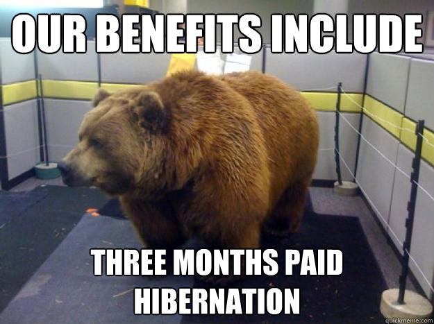 our benefits include three months paid hibernation - Office Grizzly