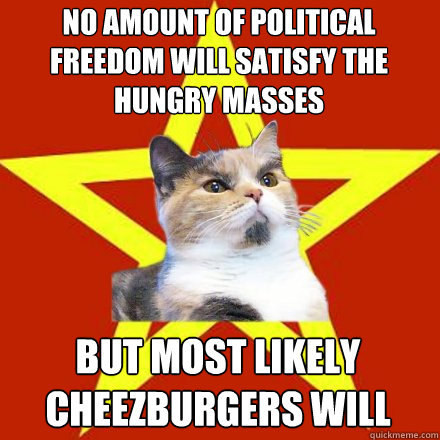 no amount of political freedom will satisfy the hungry masse - Lenin Cat