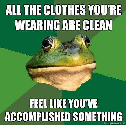 all the clothes youre wearing are clean feel like youve ac - Foul Bachelor Frog