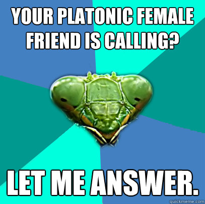 your platonic female friend is calling let me answer - Crazy Girlfriend Praying Mantis
