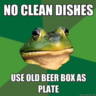 no clean dishes use old beer box as plate - Foul Bachelor Frog