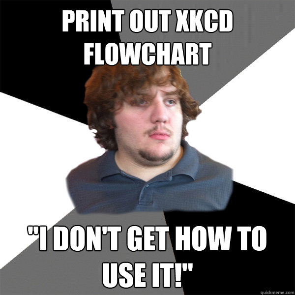 print out xkcd flowchart i dont get how to use it - Family Tech Support Guy