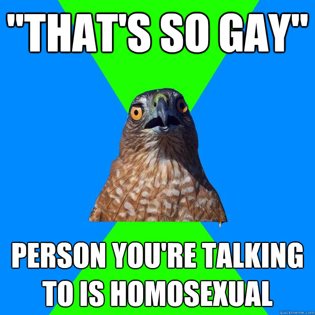 thats so gay person youre talking to is homosexual - Hawkward