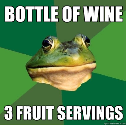bottle of wine 3 fruit servings - Foul Bachelor Frog
