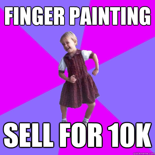 finger painting sell for 10k - Socially awesome kindergartener