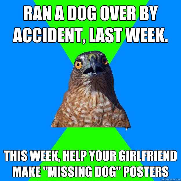 ran a dog over by accident last week this week help your  - Hawkward