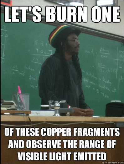 lets burn one of these copper fragments and observe the ran - Rasta Science Teacher