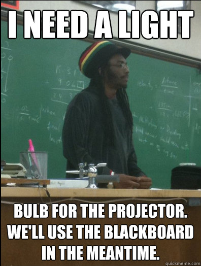 i need a light bulb for the projector well use the blackbo - Rasta Science Teacher