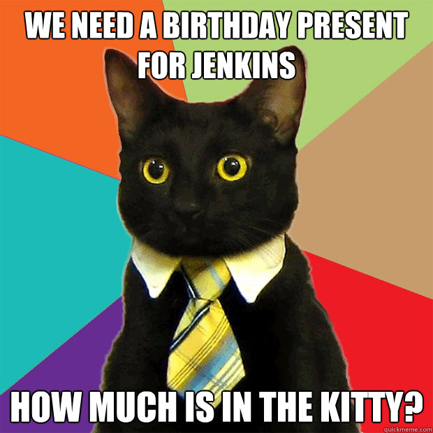 we need a birthday present for jenkins how much is in the ki - Business Cat