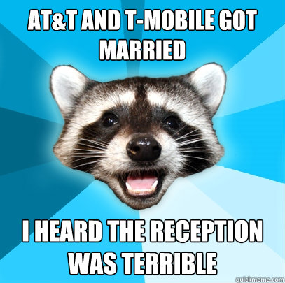 att and tmobile got married i heard the reception was terr - Lame Pun Coon