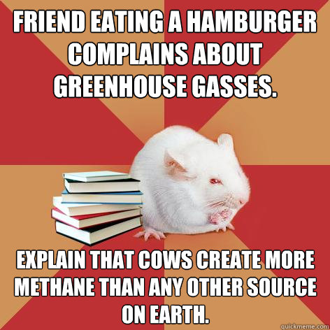 friend eating a hamburger complains about greenhouse gasses - Science Major Mouse