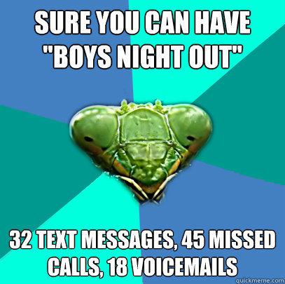 sure you can have boys night out 32 text messages 45 miss - Crazy Girlfriend Praying Mantis