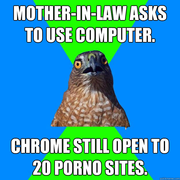 motherinlaw asks to use computer chrome still open to 20  - Hawkward