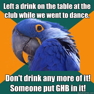 left a drink on the table at the club while we went to dance - Paranoid Parrot