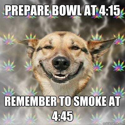 prepare bowl at 415 remember to smoke at 445 - Stoner Dog
