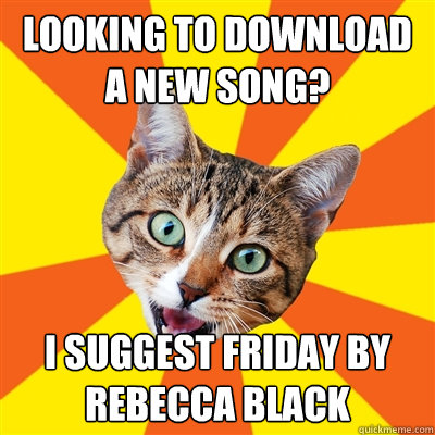 looking to download a new song i suggest friday by rebecca  - Bad Advice Cat