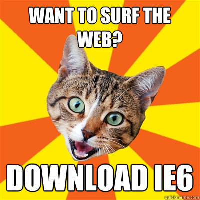 want to surf the web download ie6 - Bad Advice Cat