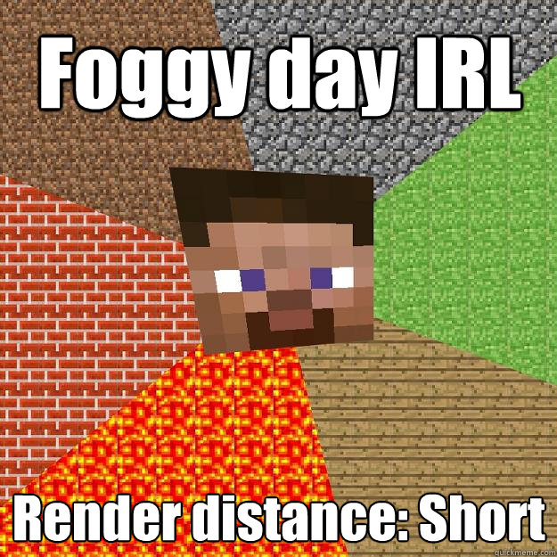 foggy day irl render distance short - Minecraft