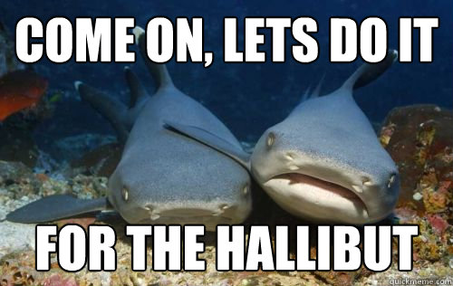 come on lets do it for the hallibut - Compassionate Shark Friend