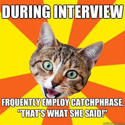 during interview frquently employ catchphrase thats what  - Bad Advice Cat