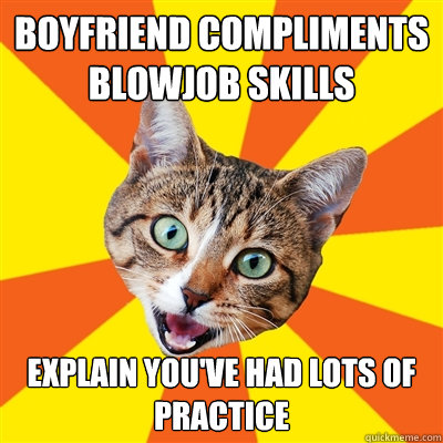 boyfriend compliments blowjob skills explain youve had lots - Bad Advice Cat