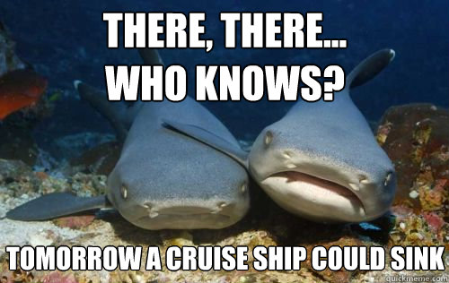 there there who knows tomorrow a cruise ship could sink - Compassionate Shark Friend