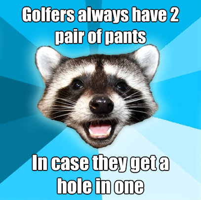 golfers always have 2 pair of pants in case they get a hole - Lame Pun Coon