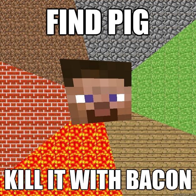 find pig kill it with bacon - Minecraft