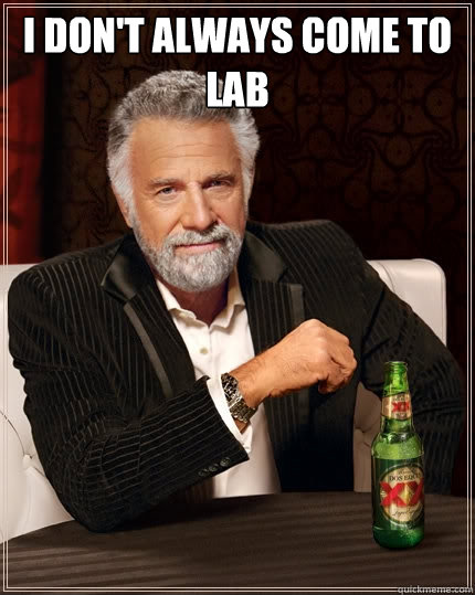 i dont always come to lab  - The Most Interesting Man In The World
