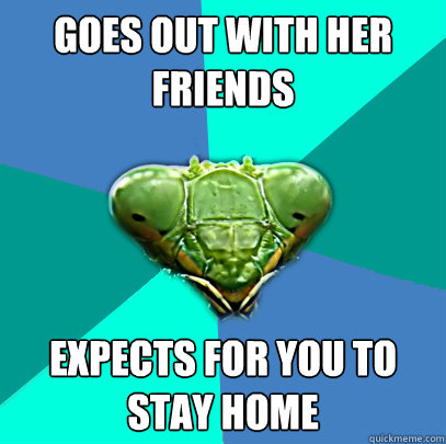 goes out with her friends expects for you to stay home - Crazy Girlfriend Praying Mantis