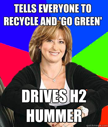 tells everyone to recycle and go green drives h2 hummer - Sheltering Suburban Mom
