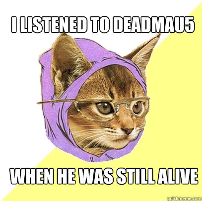 i listened to deadmau5 when he was still alive - Hipster Kitty