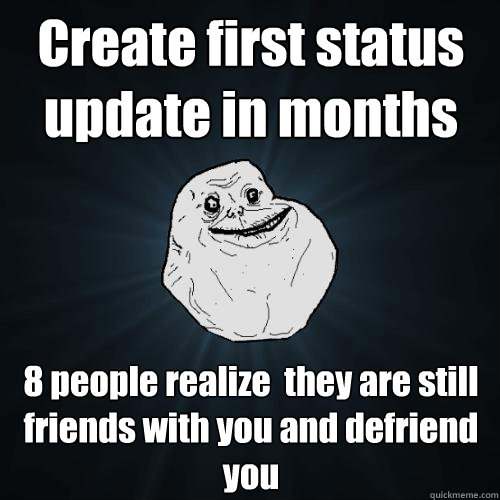 create first status update in months 8 people realize they  - Forever Alone