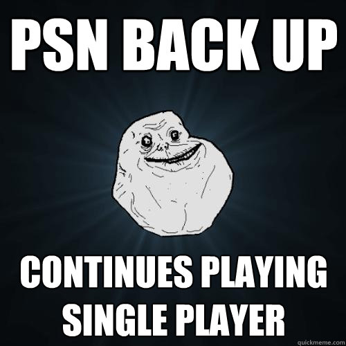 psn back up continues playing single player - Forever Alone