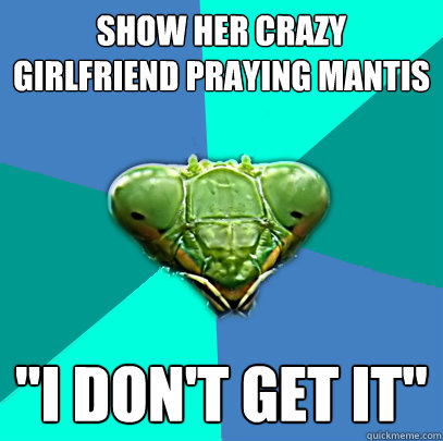 show her crazy girlfriend praying mantis i dont get it - Crazy Girlfriend Praying Mantis