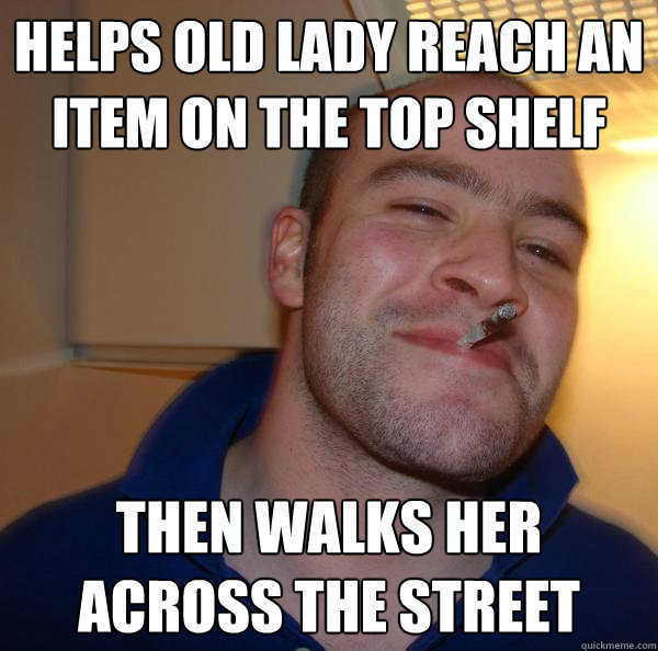 helps old lady reach an item on the top shelf then walks her - UNTITLED