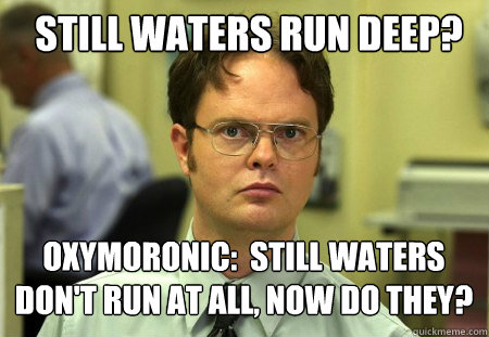 still waters run deep oxymoronic still waters dont run a - Schrute