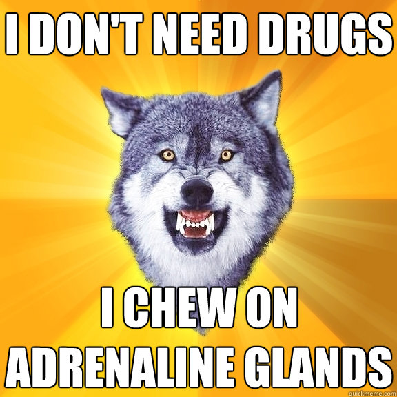 i dont need drugs i chew on adrenaline glands - Courage Wolf