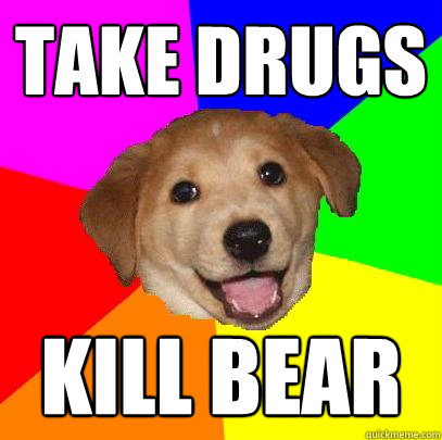 take drugs kill bear - Advice Dog