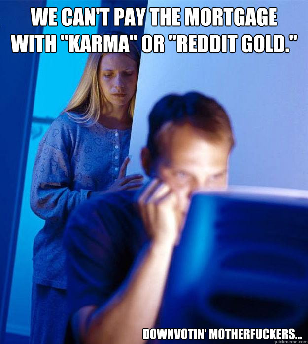 we cant pay the mortgage with karma or reddit gold dow - Redditors Wife
