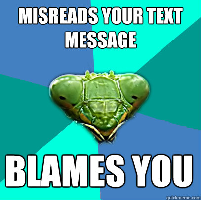 misreads your text message blames you - Crazy Girlfriend Praying Mantis