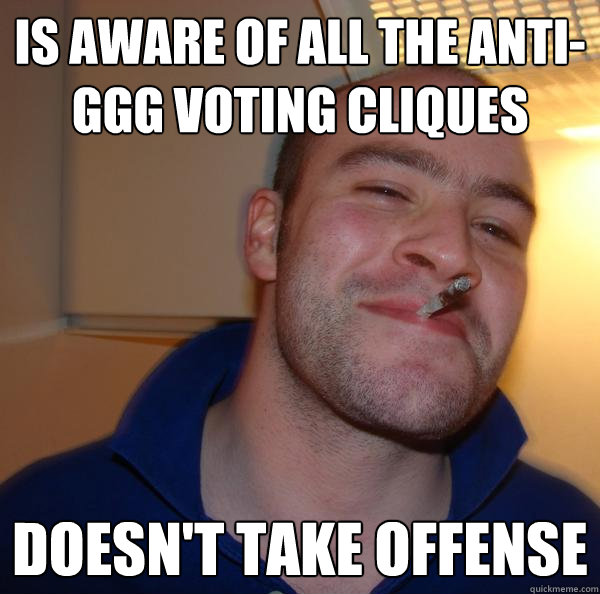 is aware of all the antiggg voting cliques doesnt take off - Good Guy Greg