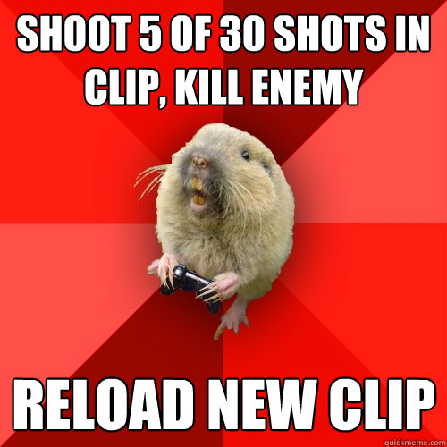 shoot 5 of 30 shots in clip kill enemy reload new clip - Gaming Gopher